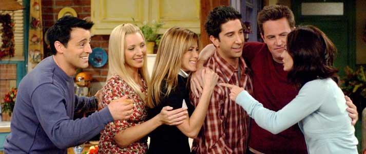friends characters hugging