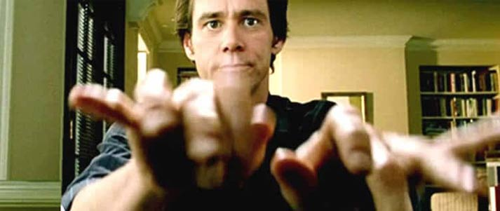 Jim Carrey Bruce Almighty typing fast