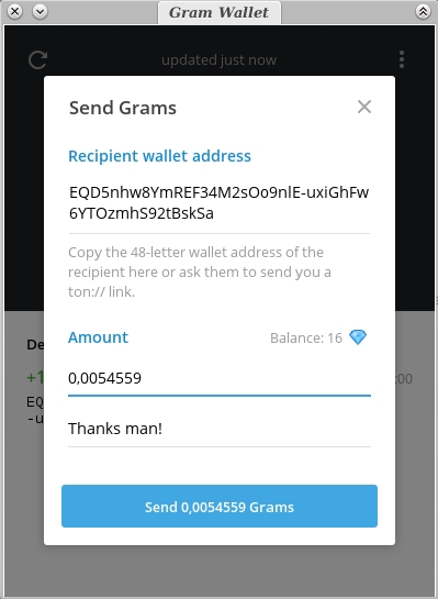 Send grms amount recipient address
