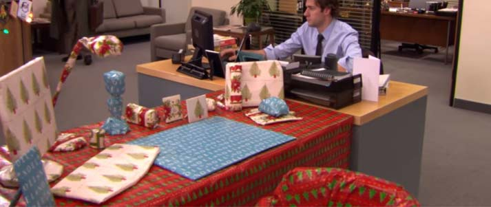 the office wrapping paper prank