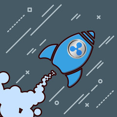 ripple xrp like a rocket icon going up. crypto currency pump up concept