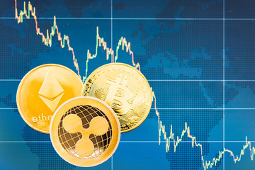 Business Bitcoin, ripple XRP and Ethereum coins currency finance money
