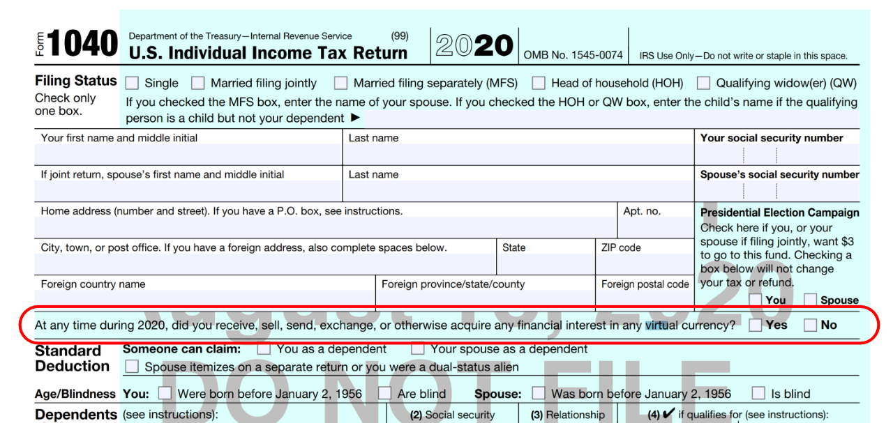 IRS Prioritizes Cryptocurrency, Now First Question on 1040 Tax Form