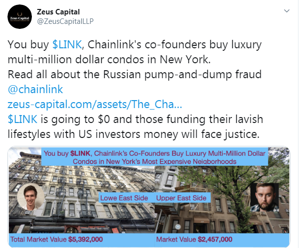 Accused of Spreading a FUD Zeus Capital Doubles Down on Chainlink Pump and Dump Claims