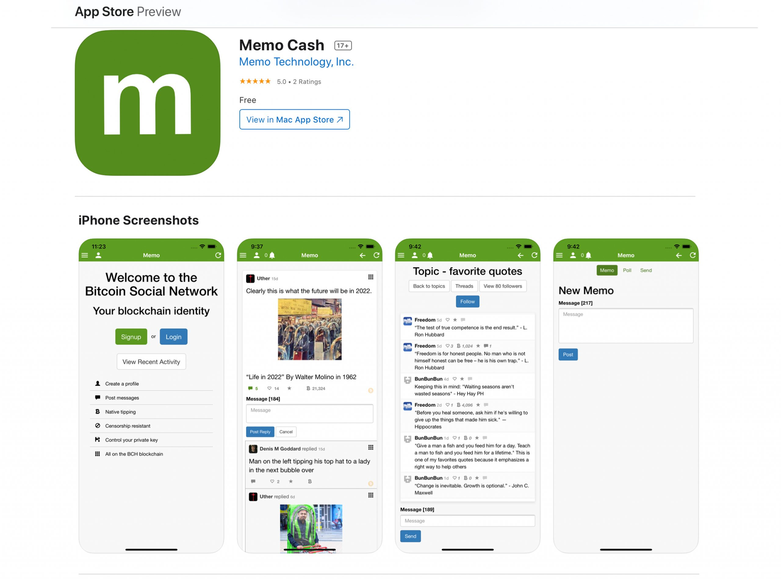 Bitcoin Cash-Fueled Onchain Social Media Platform Memo Launches iOS App