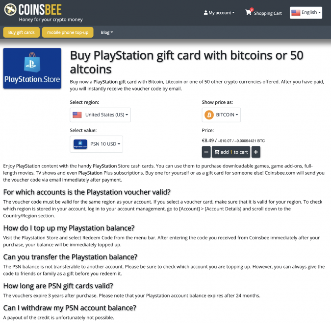 buying playstation giftcard with bitcoin and crypto