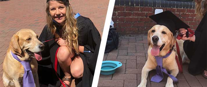 dog at graduation with owner