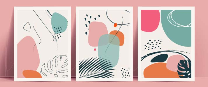 Three abstract art prints