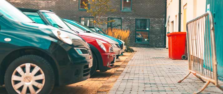 row of parked cars