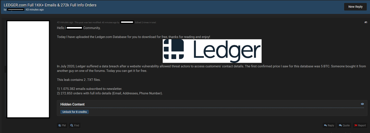 Ledger Wallet Data Leak Dumped on Raidforums for Free, Company Regrets the Situation