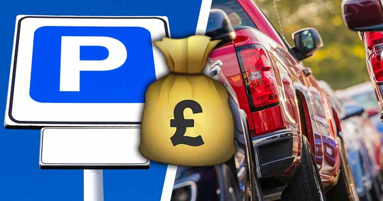 car park sign, cars and money bag