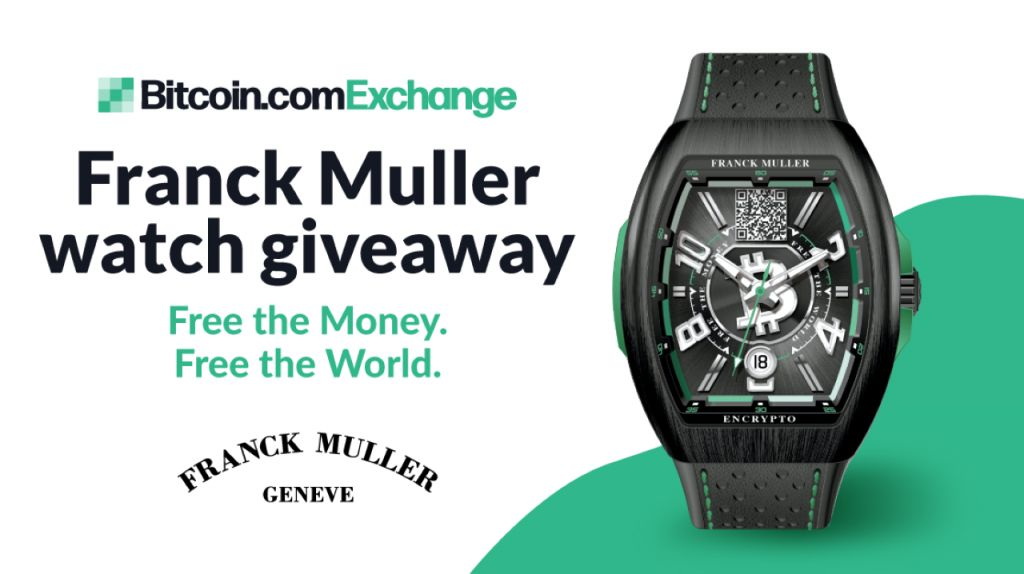 "Win a Minimal Version Franck Muller Bitcoin Cash Money View ""Free the cash. Free the Globe."" With Bitcoin.com Exchange 3"
