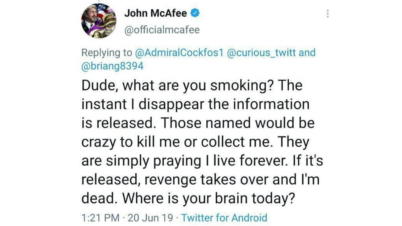 John McAfee's Fatality Ignites 'Dead Male's Switch over' Concept-- Widow Claims He 'Was Not Self-destructive'-- Included Bitcoin Information 3