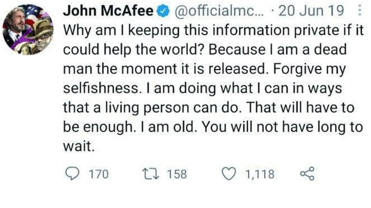 John McAfee's Fatality Ignites 'Dead Male's Switch over' Concept-- Widow Claims He 'Was Not Self-destructive'-- Included Bitcoin Information 2