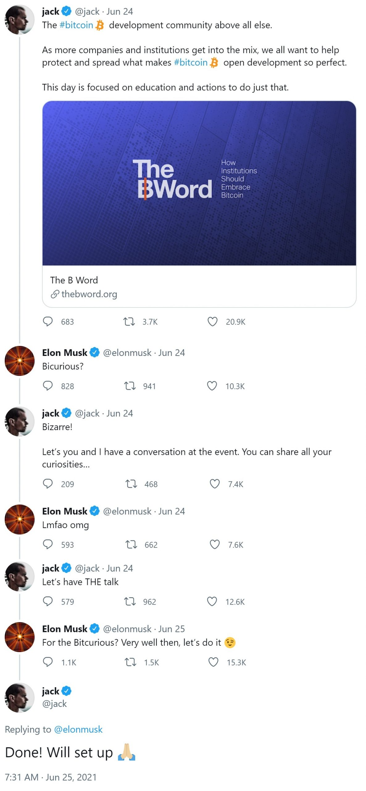 Tesla's Elon Musk as well as Twitter's Jack Dorsey Consent to Have 'the Talk' at Bitcoin Occasion 'B Word'-- Included Bitcoin Information 2