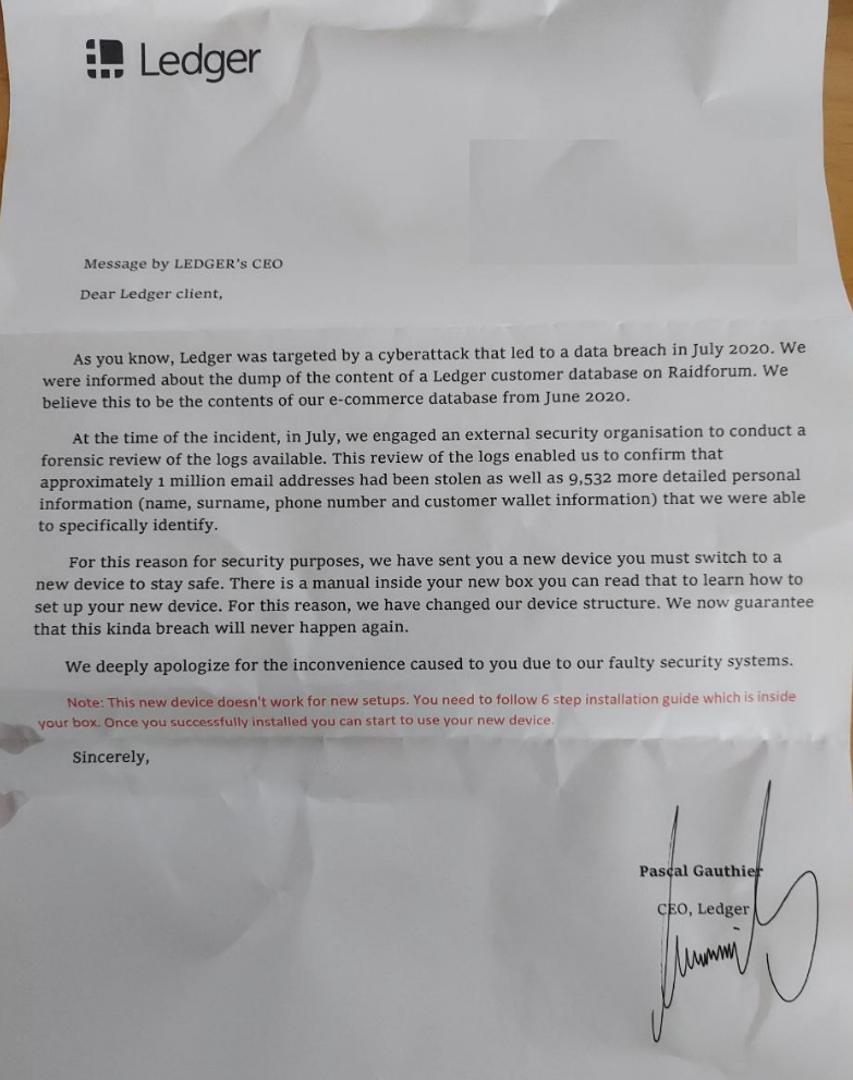 Scam letter purportedly written and signed by Ledger CEO Pascal Gauthier. Source: Reddit