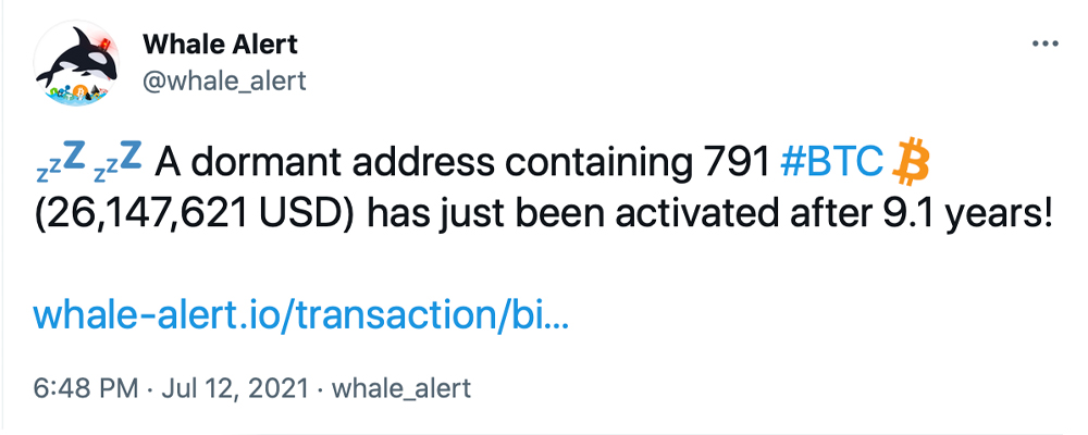 Whale From 2012 Transfers 740 Bitcoin Worth $26M After BTC Sat Idle for 9 Years