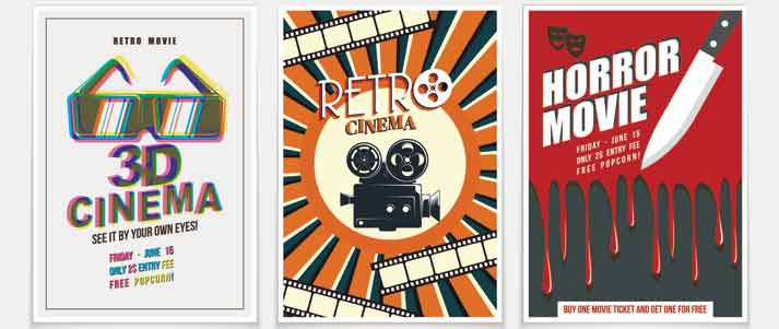 three old movie posters