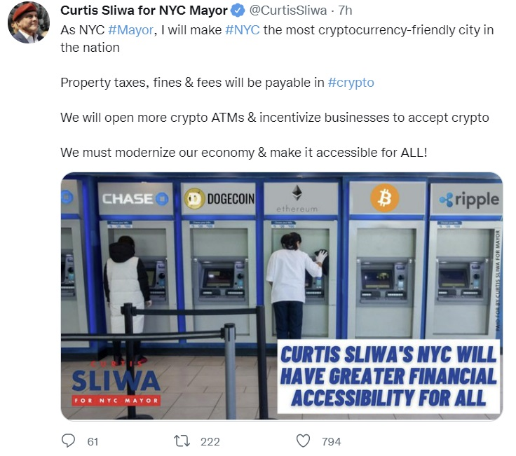 Candidate for Mayor Promises to Make NYC the Most Cryptocurrency-Friendly City in US