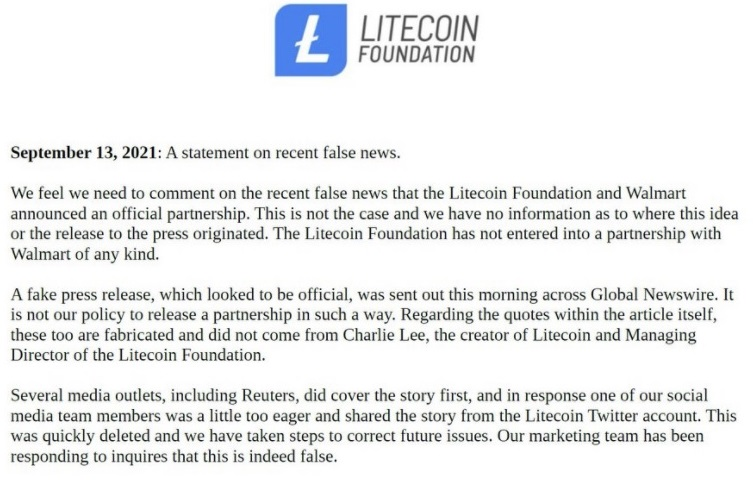 Walmart Checks Out Exactly How Phony News Release of Its Collaboration With Litecoin Got Uploaded-- Included Bitcoin Information 2