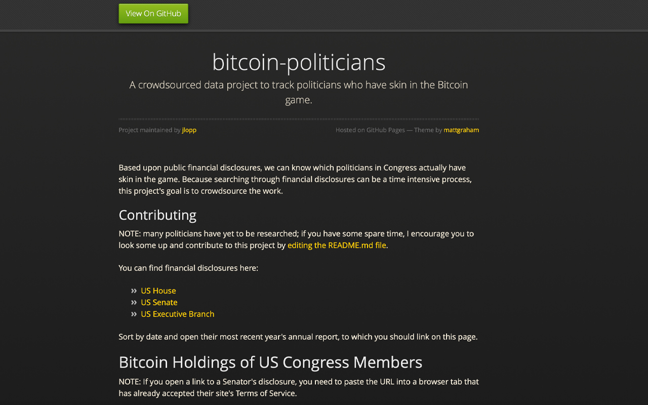 This Crowdsourced Task Attempts to Expose American Political Leaders That Own Bitcoin-- Bitcoin Information 2
